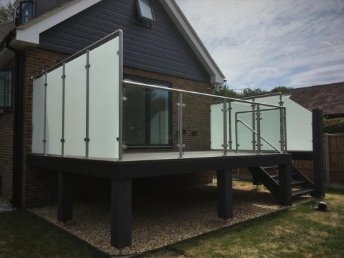 Balcony Installations balustrades with privacy screens glass and stairs handrail